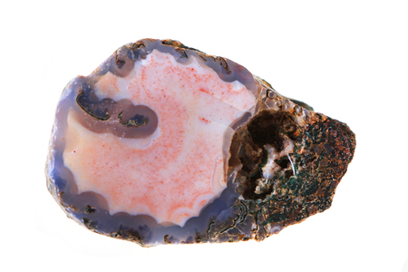 czech agate mineral gem isolated on the white background