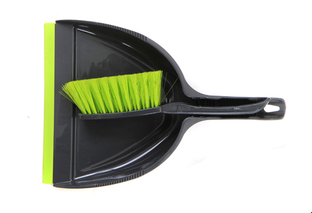 Cleaning set of dust pan and brush isolated on the white background