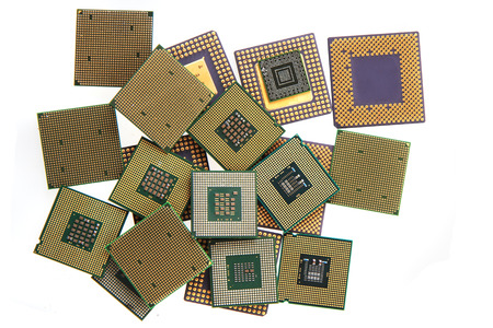 cpu micropocessors isolated on the white background