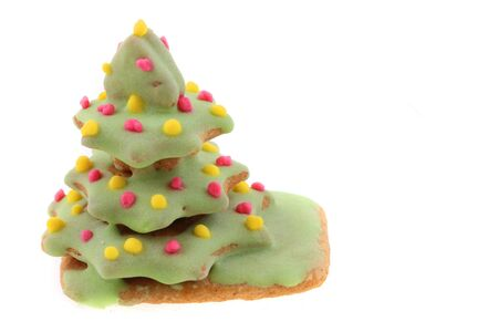 christmas ginger bread christmas tree isolated on the white background