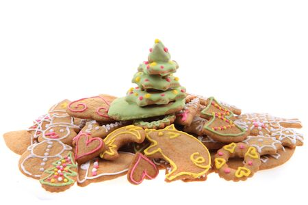 christmas ginger bread isolated on the white background Stock Photo