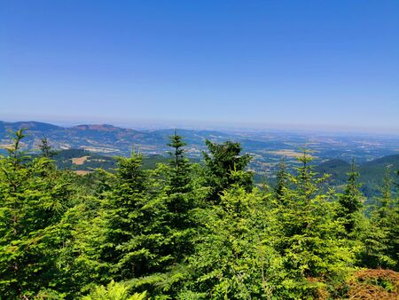 Beskydy from Lysa Hora tower with blue sky 스톡 콘텐츠