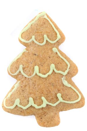 christmas gingerbread tree isolated on the white background