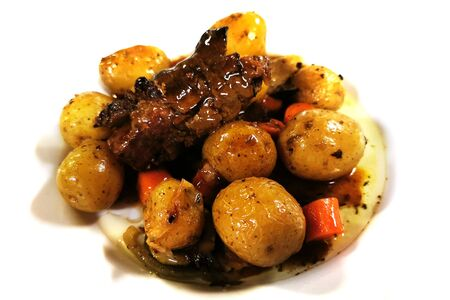 roasted fresh meat with whole small potatoes