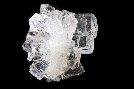salt crystal mineral isolated on the black background Standard-Bild