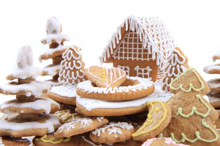 christmas ginger bread christmas house isolated on the white background
