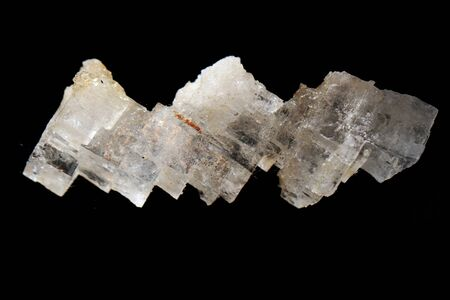 salt crystal mineral isolated on the black background