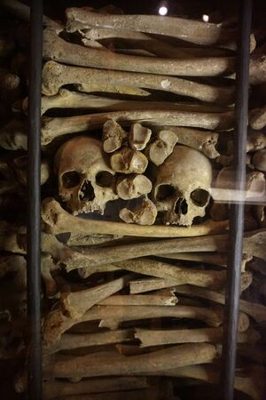 Human bones and skulls as pirate wall background