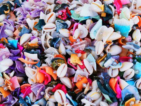 sea shells souvenirs collection as very nice background Reklamní fotografie
