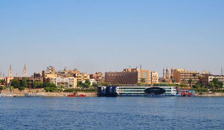 luxor town from the boat on nil river Stok Fotoğraf