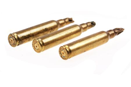 three metal bullets isolated on the white background