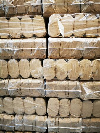big wood pellets texture for your heating 免版税图像