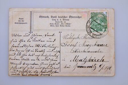 used old 100 years postcard backside isolated