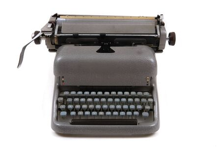 old metal typing machine from czechoslovakia isolated