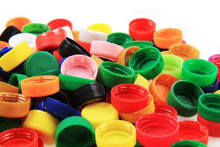 color plastic caps isolated on the white background