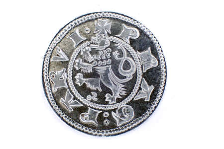 old czech coin isolated on the white background