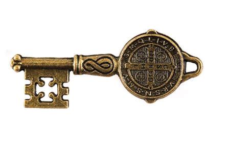 old vintage key isolated on the white background