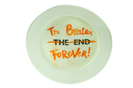 The Beatles forever. White plate. Isolated.