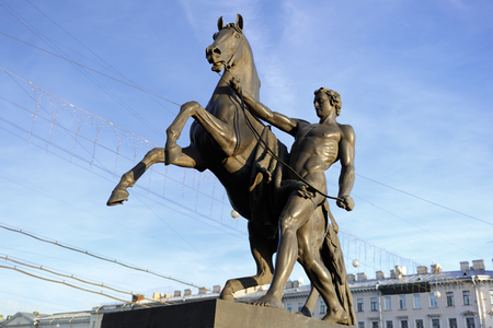 Statue of the conquest of a horse on the Anichkov Bridge in St.Petersburg, Russia. Horizontally framed shot. 写真素材