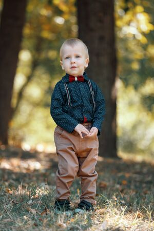 Portrait of a cute little boy on the background of nature. Walk in park. Family life. Vertically framed shot.