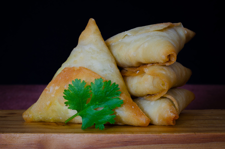 Samoosas, also sometimes referred to as a somosa, are an ever popular Indian delicacy in Durban, South Africa. Stock Photo