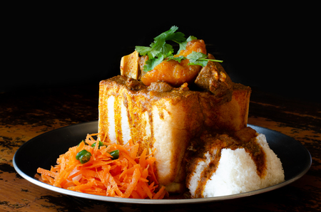 A Durban Bunny Chow - or, in this case, a quarter mutton bunny - served with sambals.