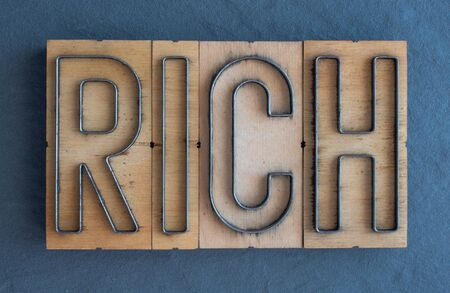 Old wood and steel number plate dies spell out the word RICH