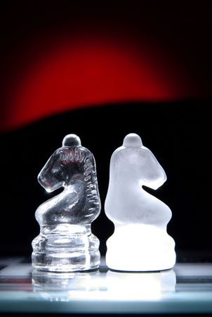 Two chess knights back to back. Stock Photo - 2550788