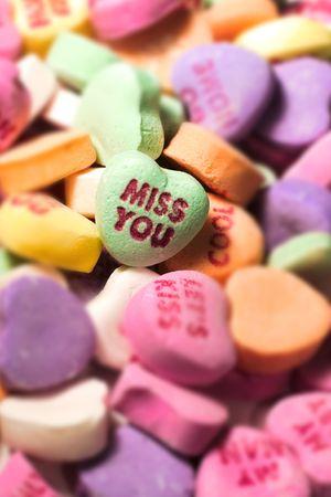 heartsick: A miss you heart haped candy.