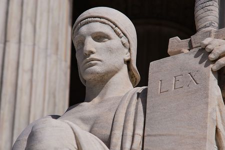 commandment: Statue outside the Supreme Court Building in Washington DC with a tablet that means law