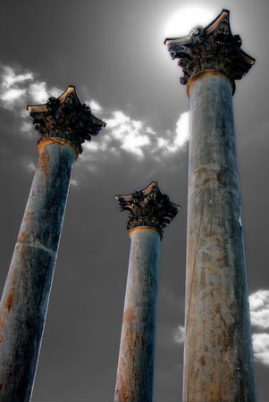 Old pillars towering to the sky