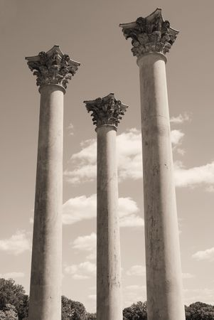 remains: Old pillars towering to the sky