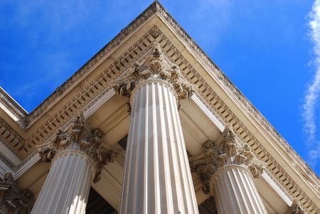 Columns of the National Archives BUilding in Washington Dc reaching towards the sky. Stock fotó