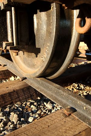 A close up of a wheel on the train tracks. Stock Photo - 2660858