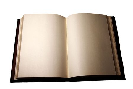 A book with blank pages on white background. photo