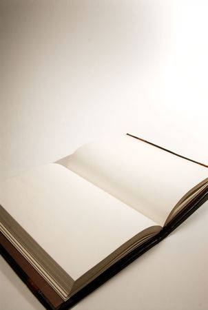 A book with blank pages on white background.