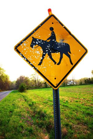 A road sign for horse crossing that has been shot up with a gun or bb gun and is full of holes. Stock Photo