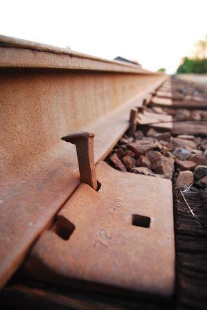 Train track spike Stock Photo