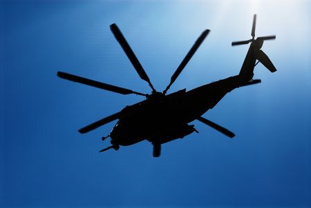 Marine helicopter in training