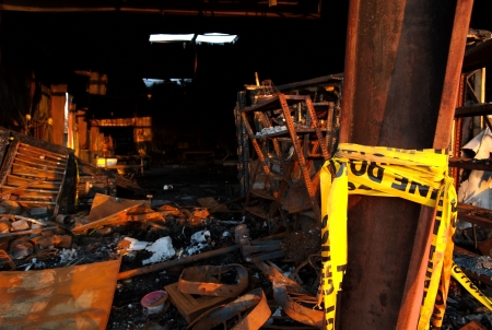 hazard tape: Warehouse fire