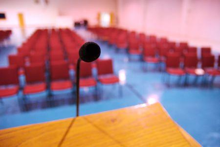 public speaking: Mic in auditorium Editorial