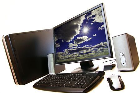 A computer desktop setup on a white isolated background. Stock Photo - 2659040