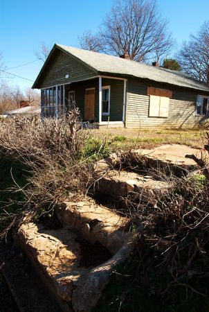 dilapidated: Steps of dilapidated house Stock Photo