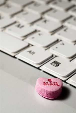 Email candy on computer keyboard