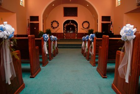 Aisle of church at wedding