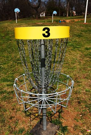 disc golf: The third hole of a disc frisbee golf course. Stock Photo
