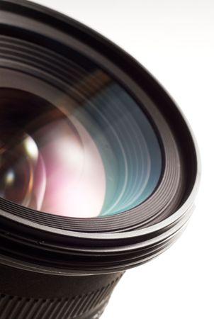 격리 된 흰색 배경에 카메라 렌즈입니다. 스톡 콘텐츠