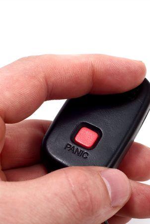 alarming: Humanos mano pulsando el bot�n rojo de p�nico  Foto de archivo