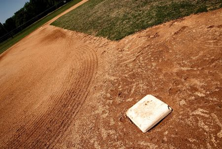 infield: third base on baseball infield Stock Photo
