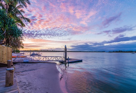 Noosa River Queensland Australia at Sunset with a Vibrant Sky Stok Fotoğraf